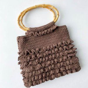vintage brown knit purse with bamboo handles